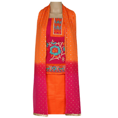 Dress Material - Pink and Orange with leaf embroidery and chiffon dupatta