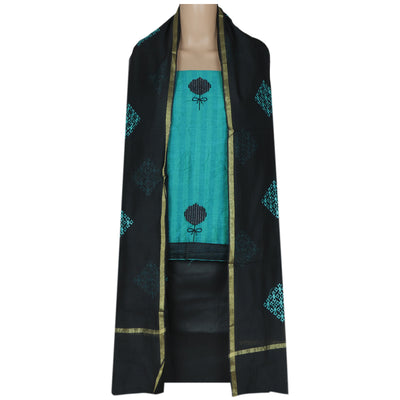Dress Material - Blue and Black with Embroidery and dupatta