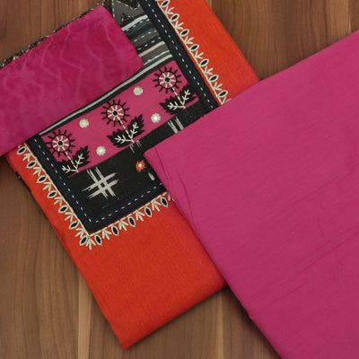 Dress Material - Orange and Pink with Mirror work and Chiffon dupatta