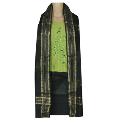 Dress Material - Green and Black with Leaf embroidery and dupatta