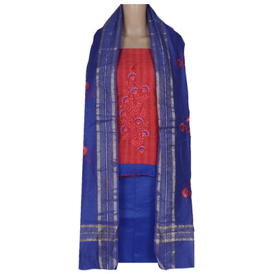 Dress Material - Orangish Pink and Blue with Leaf embroidery and dupatta
