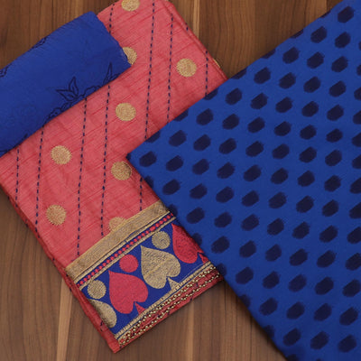 Dress Material - Pink and Blue with zari butta and Chiffon dupatta