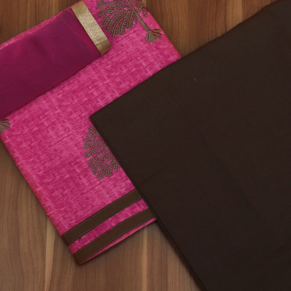 Dress Material - Pink and Brown with tree design and chiffon dupatta