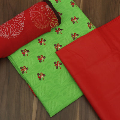 Dress Material - Green and Red with leaf embroidey and chiffon dupatta