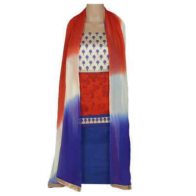 Dress Material - Orange and Blue with embroidery patch and chiffon dupatta