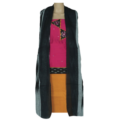 Dress Material - Pink and Mustard with patch work and Ikkat dupatta