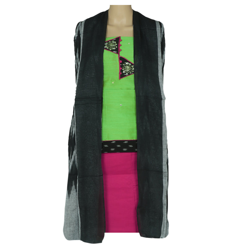 Dress Material - Green and Pink with patch work and Ikkat dupatta