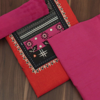 Dress Material - Orange and Pink with Patch work and chiffon dupatta