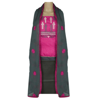 Dress Material - Pink and Grey with thread embroidery and chiffon dupatta