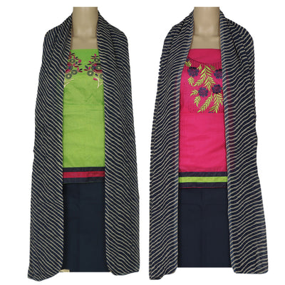 Dress Material - Pink and Pista Green Double top with Chiffon dupatta