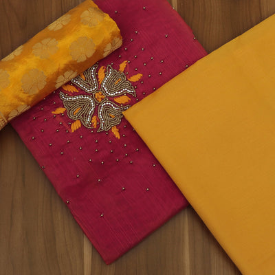 Dress Material - Pink and Yellow with embroidery work and Banarasi Dupatta