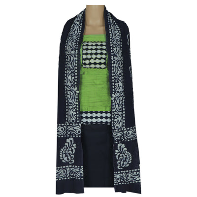 Dress Material - Green and Navy Blue with Patch work and Dupatta