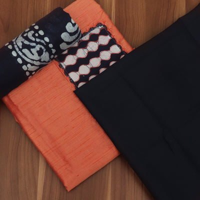 Dress Material - Orange and Navy Blue with Patch work and Dupatta