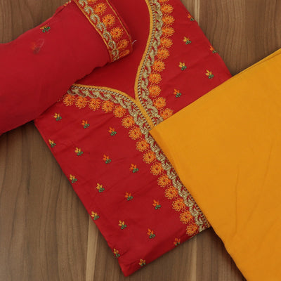 Dress Material - Red and Yellow with Leaf embroidery and Chiffon dupatta