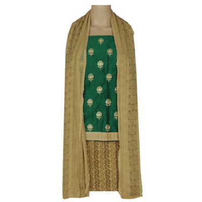 Dress Material - Green and Light Brown with floral embroidery and chiffon dupatta