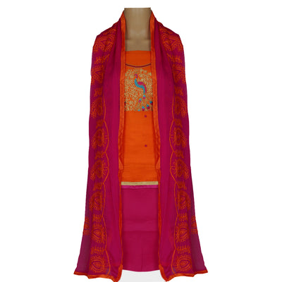 Dress Material - Orange and Pink with Peacock embroidery and chiffon dupatta