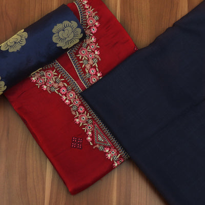 Dress Material - Red and Navy Blue with embroidery and Banarasi dupatta
