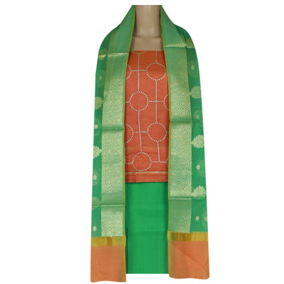 Dress Material - Orange and Green with embroidery and Banarasi dupatta