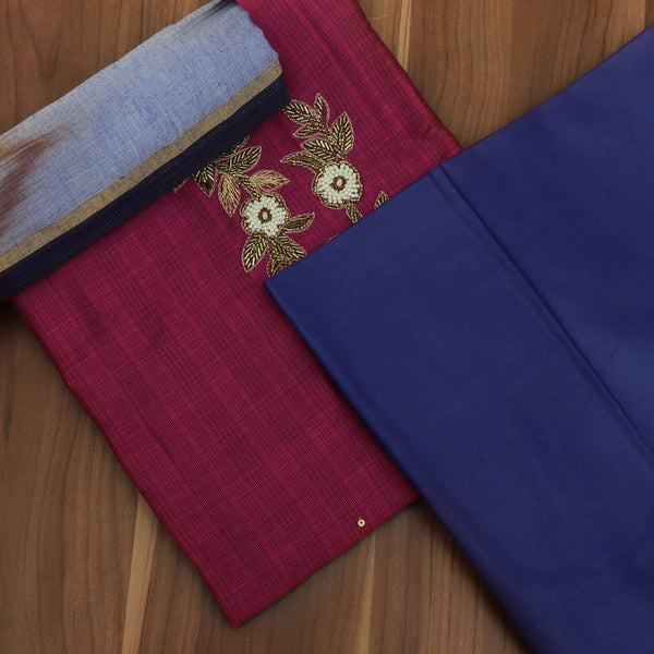 Dress Material - Pink and Blue with embroidery and Silk cotton dupatta
