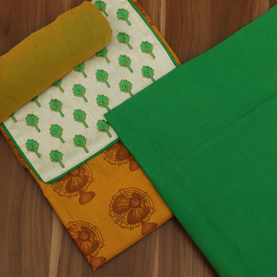 Dress Material - Yellow and Green with embroidery and Chiffon dupatta