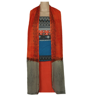 Dress Material - Blue and Orange with embroidery and Chiffon dupatta