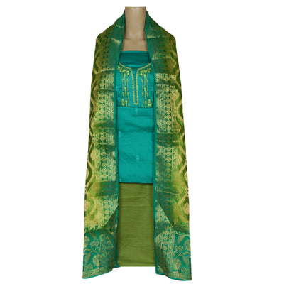 Dress Material - Green with embroidery and Pear Green Banarasi dupatta
