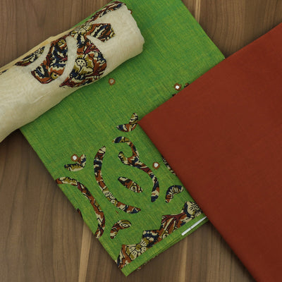 Dress Material - Green and Brick with Silk Cotton dupatta