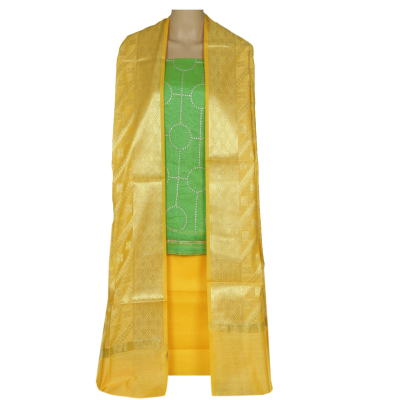 Dress Material - Pear Green and Yellow with embroidery and Banarasi dupatta