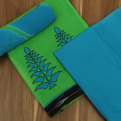 Dress Material - Parrot Green and Sky Blue with embroidery and Chiffon dupatta