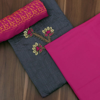 Dress Material - Grey and Pink with embroidery and Chiffon dupatta