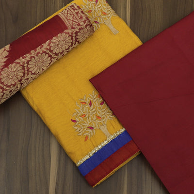 Dress Material - Yellow and Red with Tree Embroidery and banarasi Dupatta