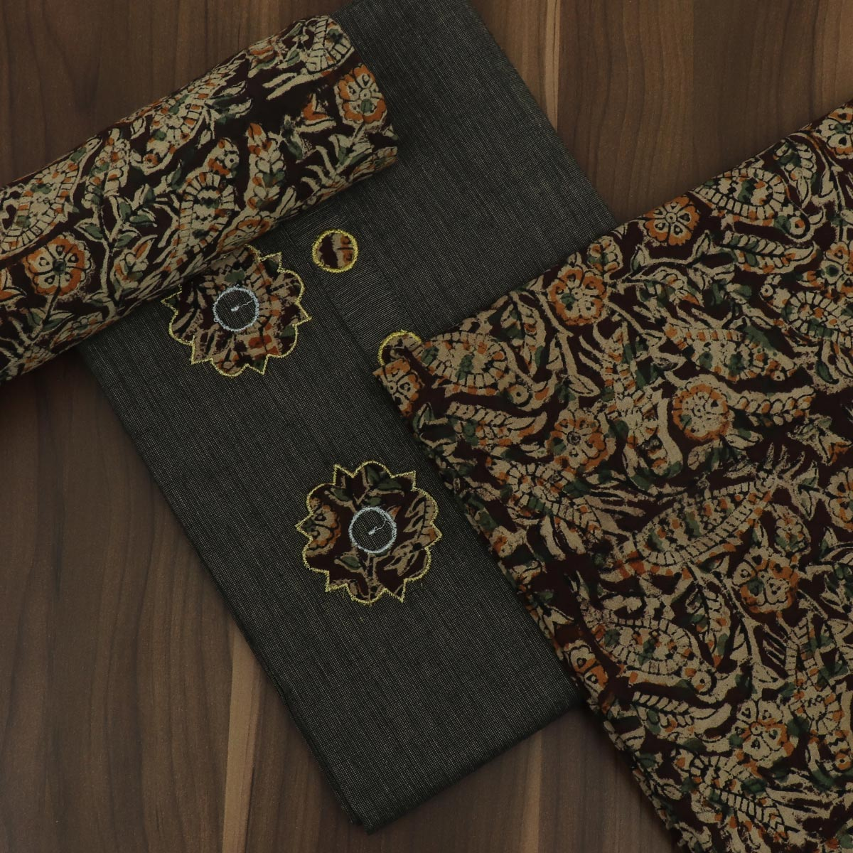 Dress Material -Black and Brown with Batik applique work