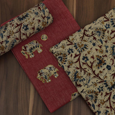 Dress Material - Red shade and Sandal with Kalamkari Patch work