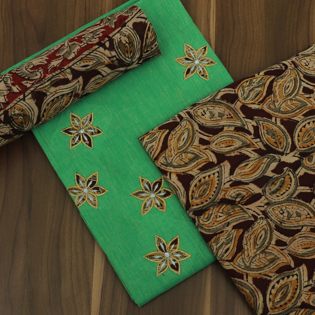 Dress Material - Green and half white Maroon with Batik applique work