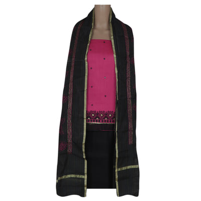 Dress Material -Pink and Black with Cotton dupatta