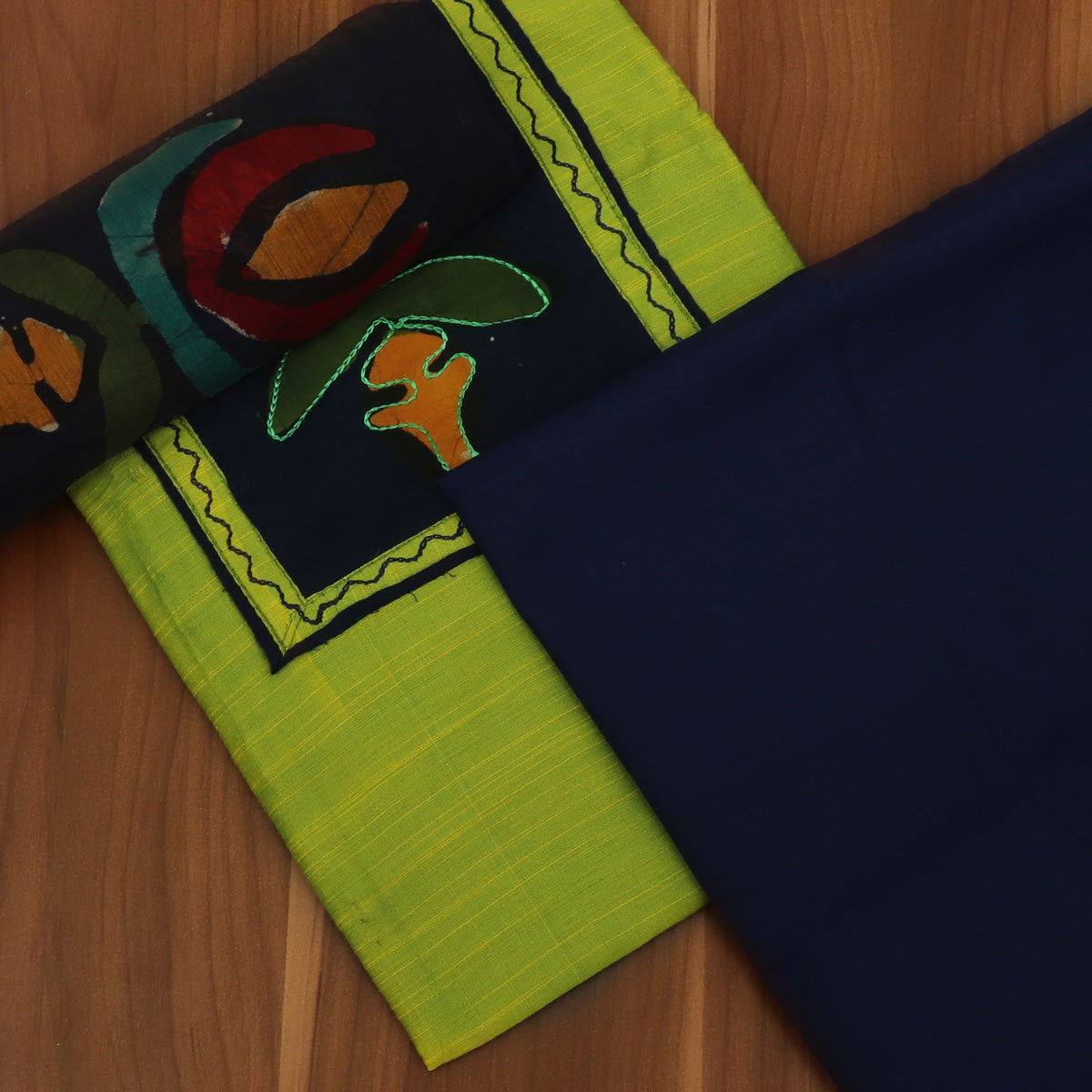 Dress Material - Parrot Green and Blue with Chiffon dupatta