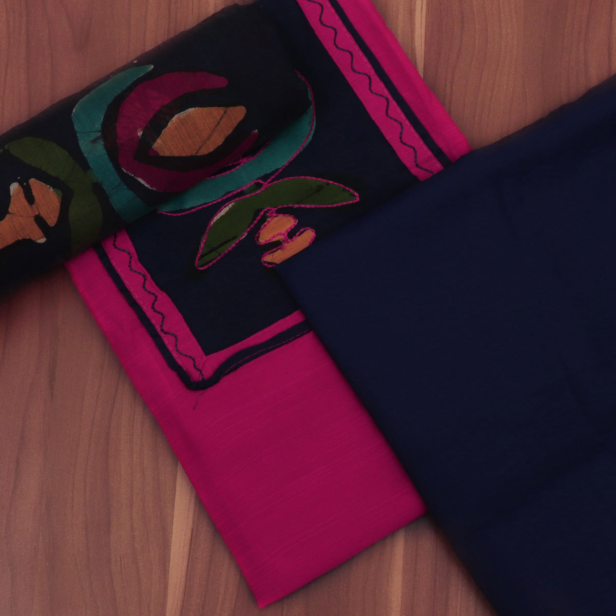 Dress Material - Pink and Blue with Chiffon dupatta