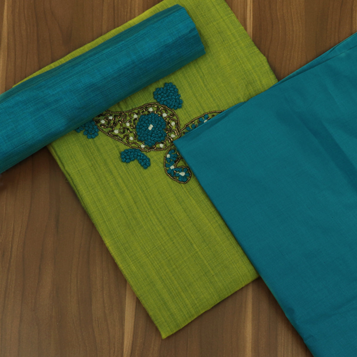 Dress Material - Parrot and sky Blue with Embroidery and Silk Cotton dupatta