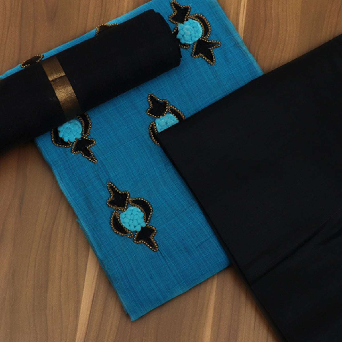 Dress Material - Sky Blue and Black with Embroidery and Silk Cotton dupatta