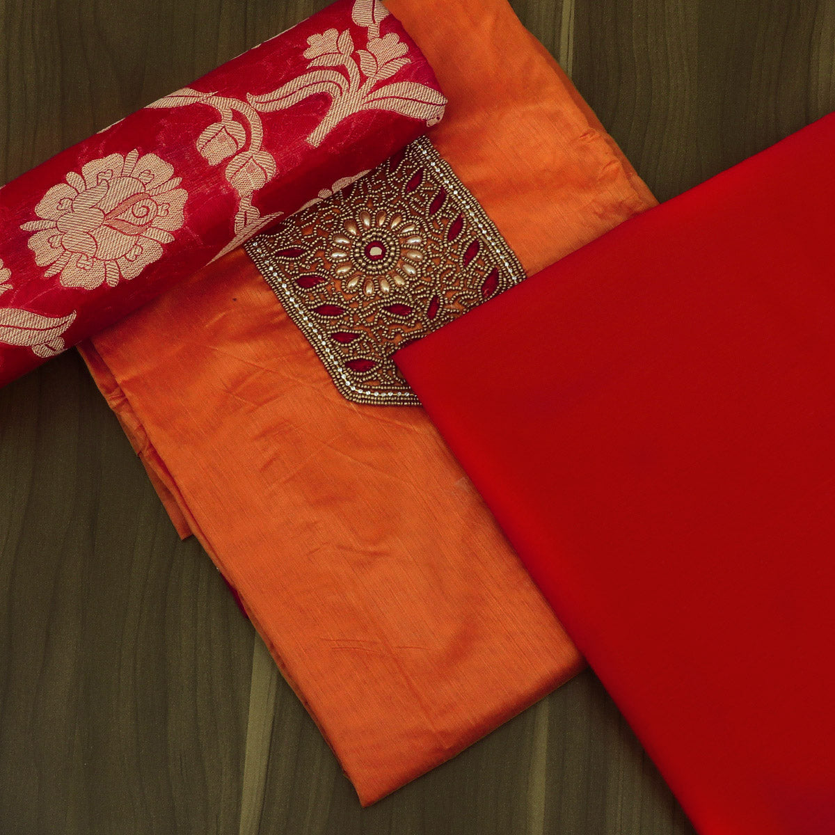 Dress Material - Dual Shade Orange and Red with Embroidery and Banarasi dupatta