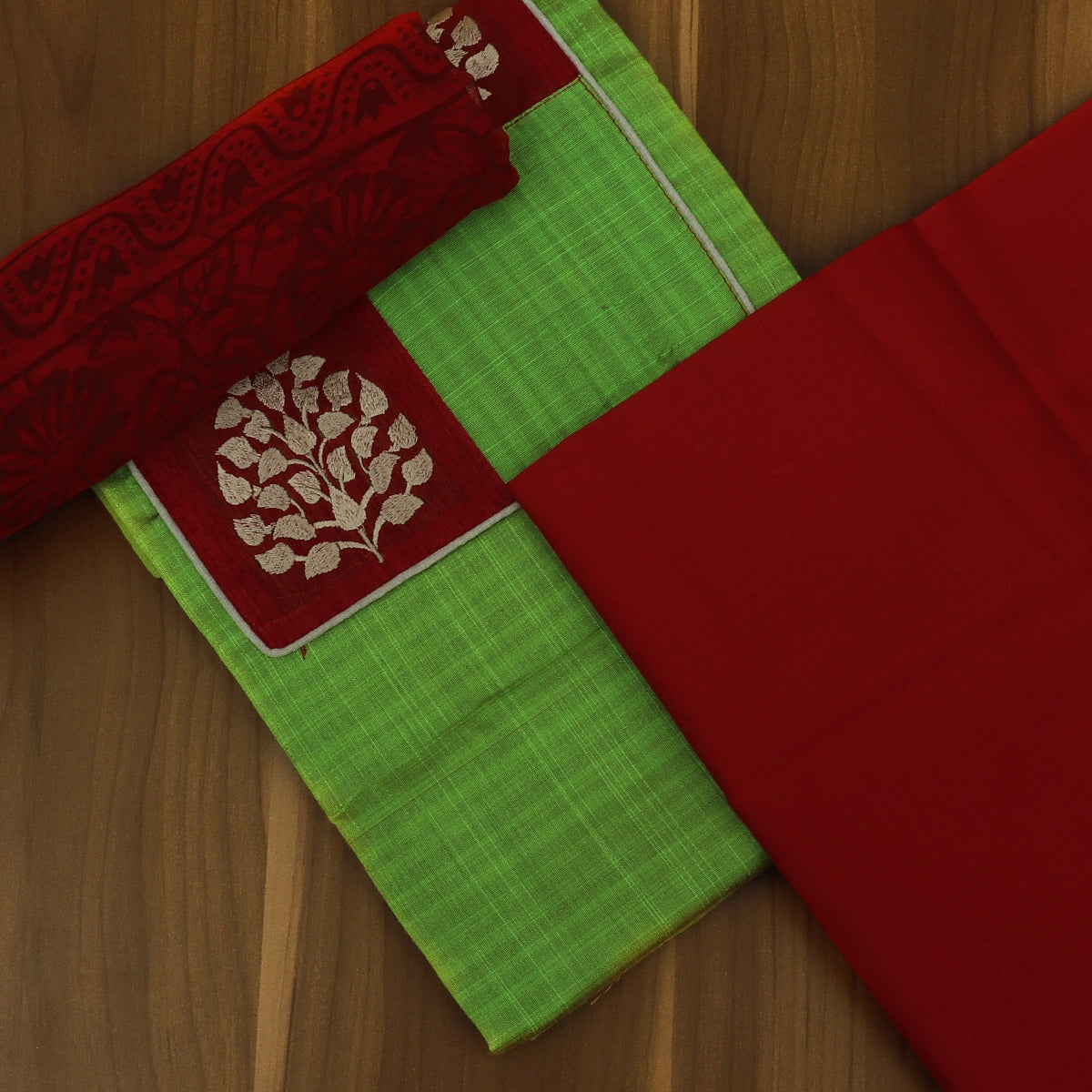 Dress Material - Parrot Green and Red with Leaf Patch work and Chiffon dupatta