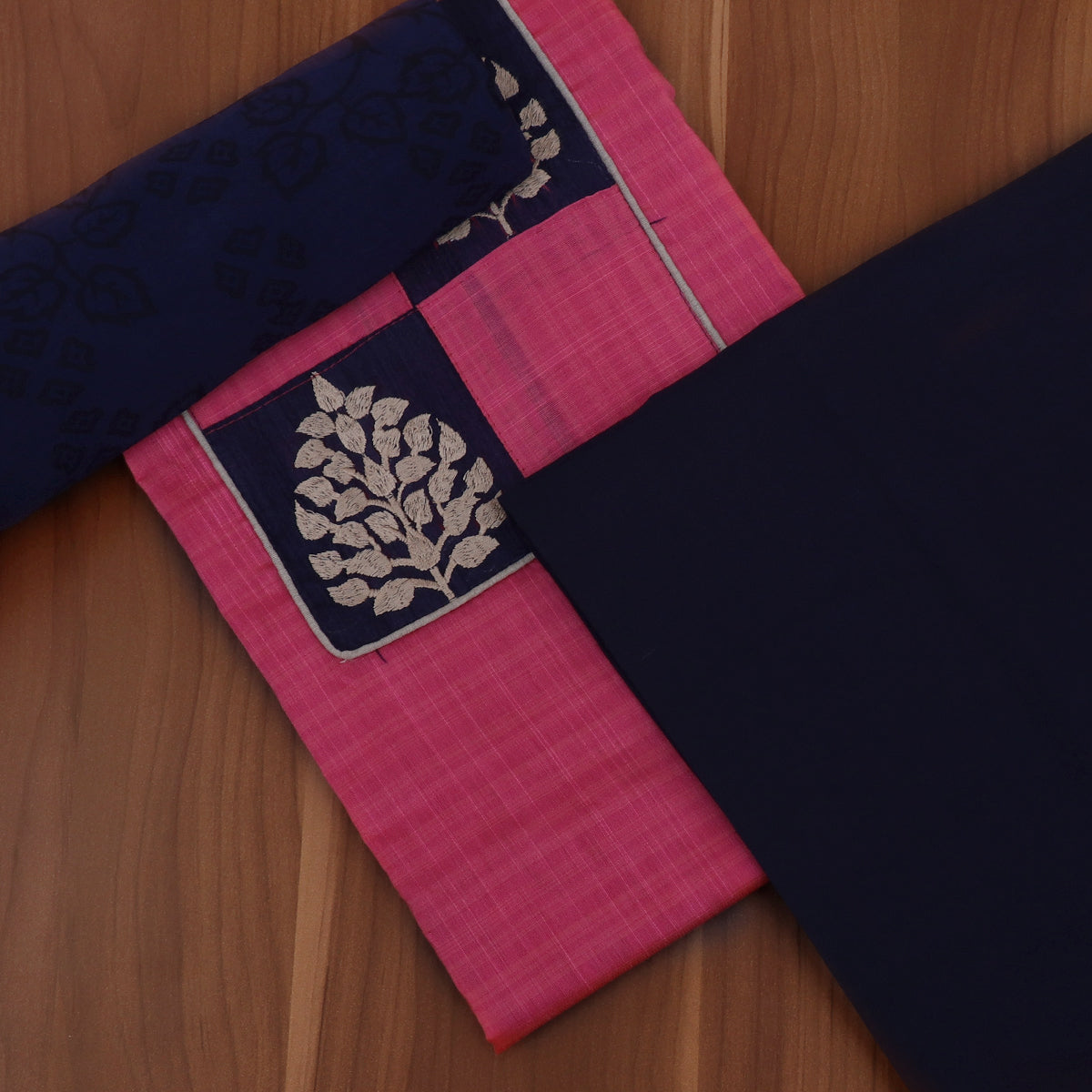Dress Material - Pink and Blue with Leaf Patch work and Chiffon dupatta