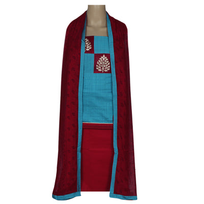 Dress Material - Sky Blue and Red with Leaf Patch work and Chiffon dupatta