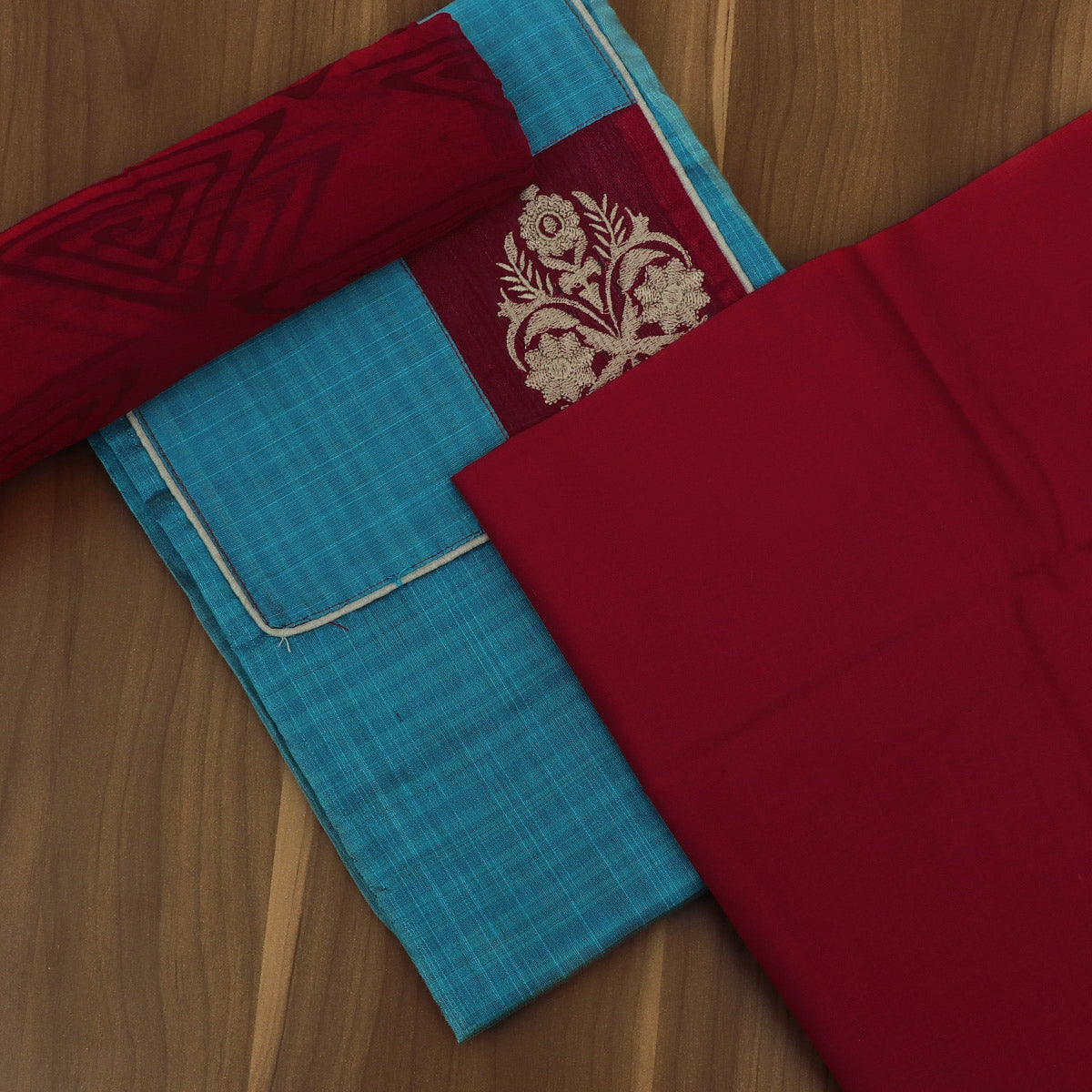 Dress Material - Sky Blue and Red with Flower Patch work and Chiffon dupatta