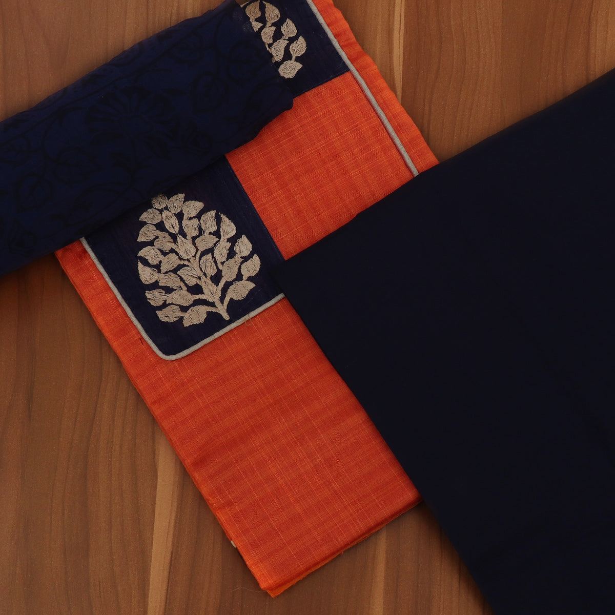 Dress Material - Brick Orange and Blue with leaf Patch work and Chiffon dupatta