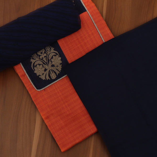 Dress Material - Brick Orange and Blue with Flower Patch work and Chiffon dupatta