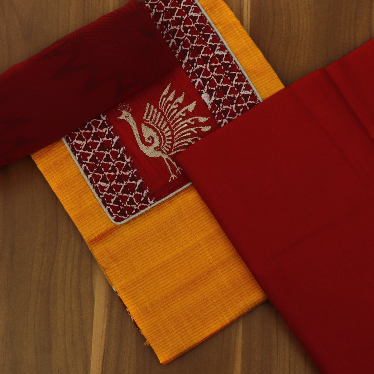 Dress Material - Dark Yellow and Red with Chiffon dupatta