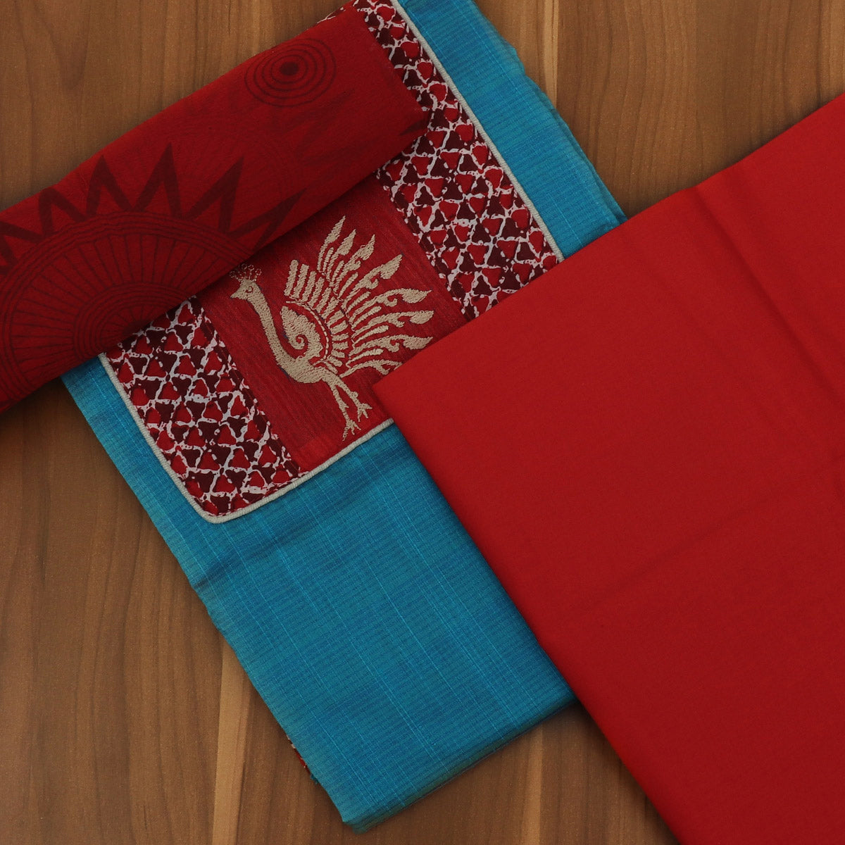 Dress Material - Sky Blue and Red with Chiffon dupatta