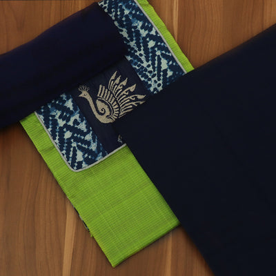 Dress Material -Parrot Green and Blue with Chiffon dupatta