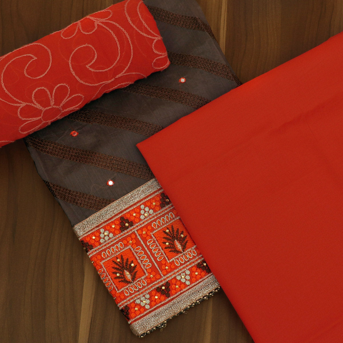 Dress Material -Grey and Orange with Emproidery and Chiffon dupatta